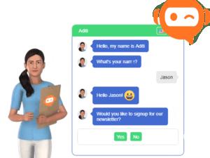 Agent de clavardage automatisé multilangue avec avatar/porte-parole